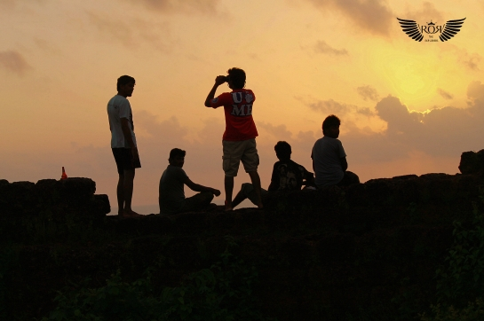 Studying the orientation & behavior of the birds during the sunset..& experiencing one of the best sunsets in India @ Chapora Fort