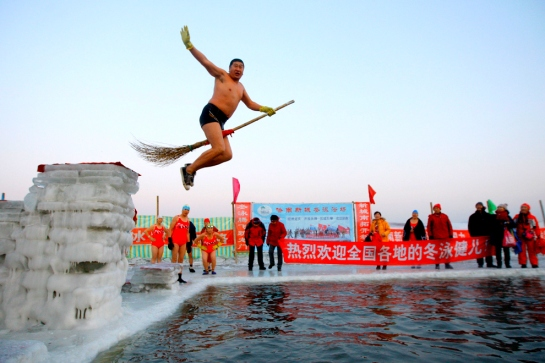 Braveman jumping into the freezing water