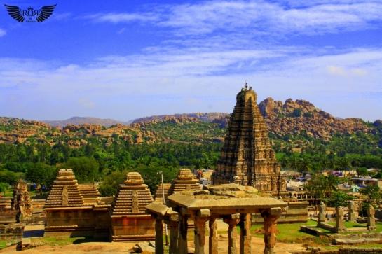 Virupaksha temple from Hemakuta hills, Hampi Karnataka