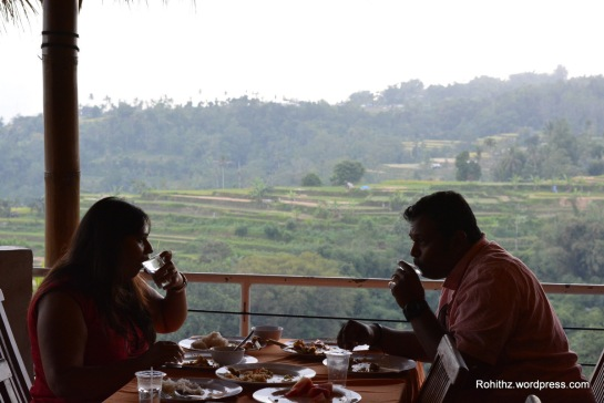Having Lunch while seeing the natural beauty of pacung rice terraces, a valley and mountains, a way to really gain a feeling of being escape from the pressures of everyday life and relax...