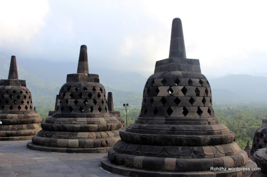Stupas on the highest level of Borobodur