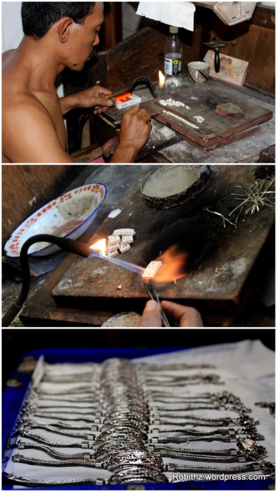 An Artisan making silver ornaments at Celuk village