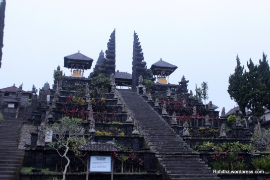 This temple is just Perched nearly 1000 meters up the side of Mt. Agung, it is an extensive complex  of 23 separate but related temples with the largest and most important being Pura Penataran Agung. This is built on six levels, terraced up the slope.