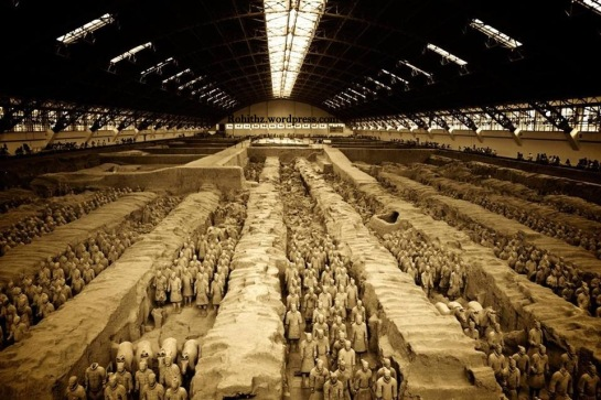 Platoons of clay soldiers were buried with the emperor Qinshihuang to  accompany him in his after life..