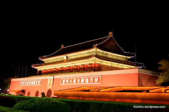 "Tiananmen square is known as ""the heart of China"". Tiananmen Gate is brightly lit up in the evening."