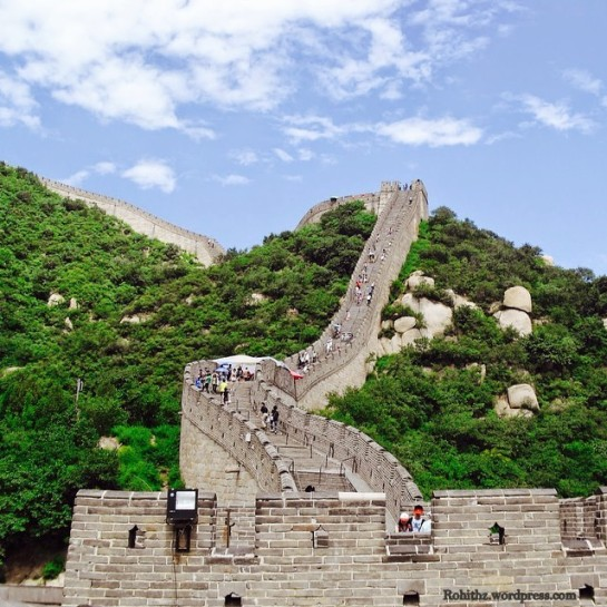 Great Wall of china- Changcheng长城 one of the world wonder... I'm lucky that I visited this wonder in all the seasons.. 2008winter, 2010summer & 2012spring.. Every time I visit this a new memory pops-up This mighty wall is seen from space: Based on the photograph taken by leroy chiao an American-Chinese astronaut, the China Daily later reported that the Great Wall can be seen from 'space' with the naked eye, under favorable viewing conditions, if one knows exactly where to look.