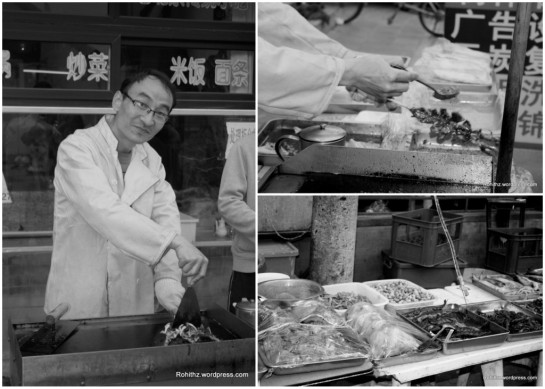 Man making street food: I try street foods for a number of reasons, One is that they are reasonably priced and delicious than the foods which are sold in restaurants and other is to experience ethnic cuisines and also for nostalgia.