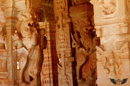 Captured in southern of hall, this hall is dominated with the rampant mythical creatures called Yalis. Which are typical of Vijayanagara architecture!