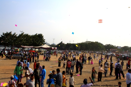 Lots of people gathered to fly kites in Necklace road