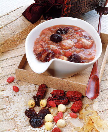 "Laba porridge is mostly made of rice and sticky rice, but can also include sugar, red dates, lotus seeds, walnuts, chestnuts, almonds, longans, hazelnuts, raisins, red beans, peanuts, water caltrops, roseleaf and other ""treasures"" (hence its other name, ""eight treasure porridge"")."
