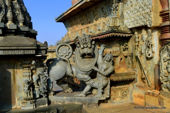 Sala fighting the Lion, the emblem of Hoysala Empire ..