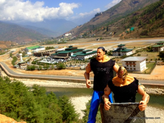 With the backdrop of Paro Airport, Bhutan