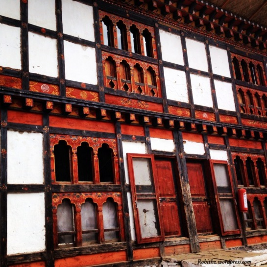 In Most of the Bhutanese Constructions, Smaller windows are built into lower floors, with larger windows on upper levels to add to structural soundness. Clicked at Punakha
