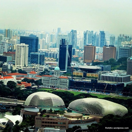 Singapore city over-view from Singapore flyer..Those beautifully constructed building with striking architecture is the Esplanade – Theatres. These building are the centre for performing arts for this island nation