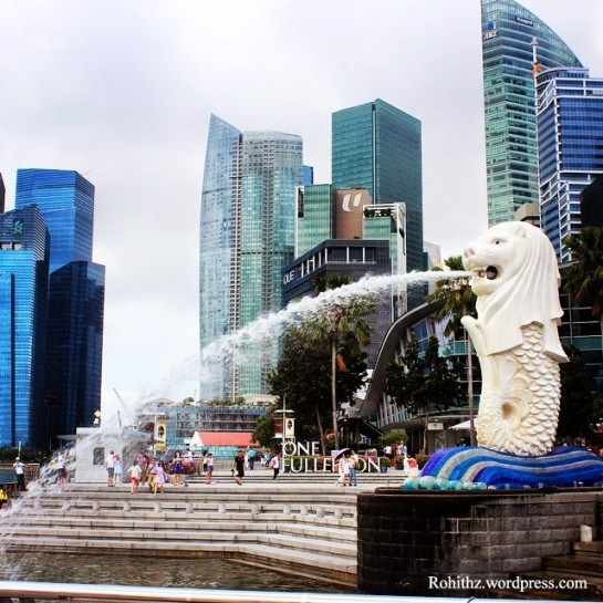 "The Merlion is an icon with the head of a lion and the body of a fish, used as a mascot and national personification of Singapore. The lion head represents Singapore's original name—Singapura—meaning ""lion city"" or ""kota singa""."