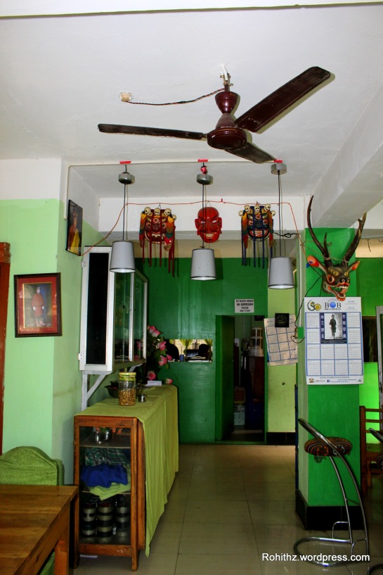 Inside of a Bhutanese House/hotel. Colorful Local lunch :P