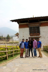 RorBoyz at the entrance of the Punakha Dzong.