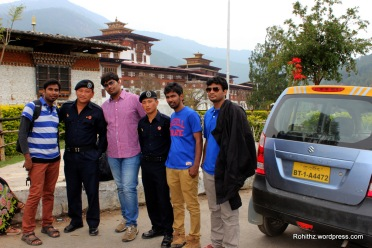 Most surprising fact for us is that one of these friendly Bhutanese police can speak Telugu(My mother tongue)