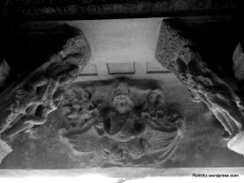 On the ceiling of this cave, there are carvings of Vishnu on Garuda and several other scenes from the puranas...