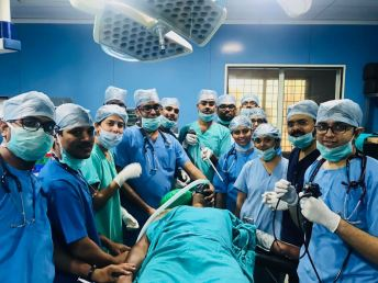 Our Interventional pulmonology team & Anesthesia team in Operation theatre