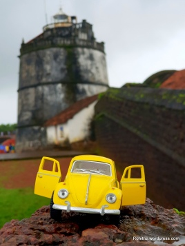 That's yellowie with the backdrop of light house, Aguada fort, Goa